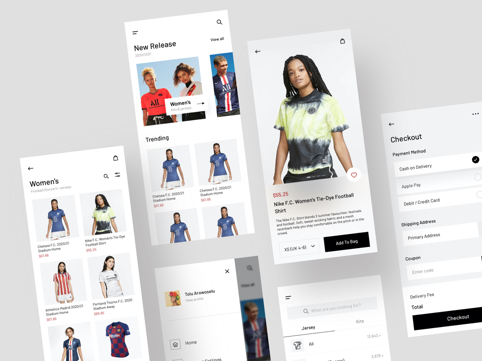 jersey shop ui kit including cart, shop page, checkout, products, jerseys and models in a minimal style