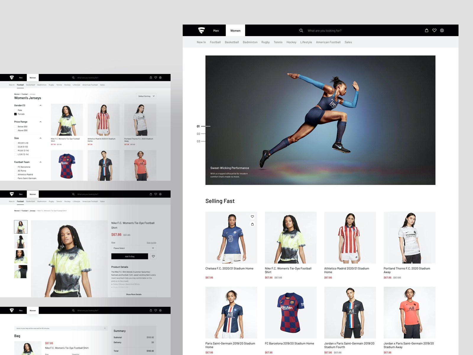 jersey shop web ui kit showing cart, checkout, shop, page and various models in nike jerseys